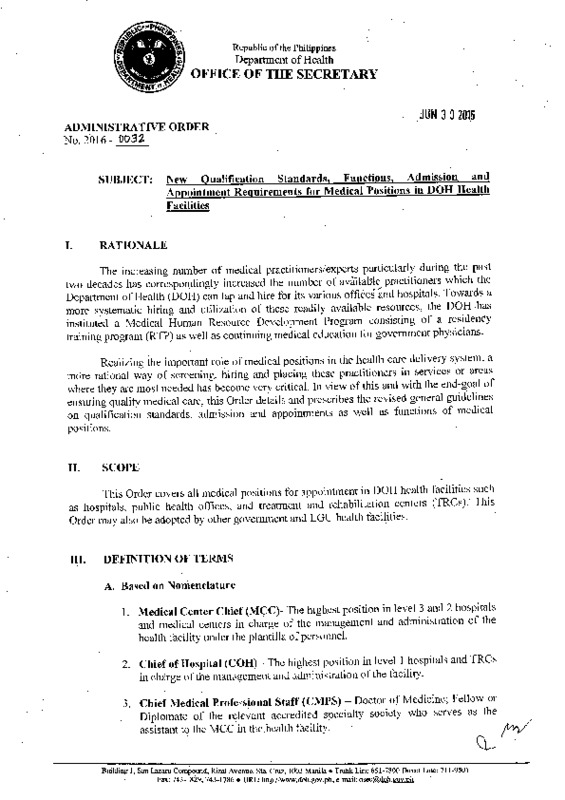 DOH AO 2016-0032 QS for Medical Positions.PDF