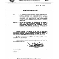 CSC MC 18, s. 2005: Rules Implementing the Provisions of Republic Act No. 9242, Otherwise Known as 'An Act Prescribing the Use of the Philippine Tropical Fabrics for Uniform of Public Officials and Employees and for Other Purposes'