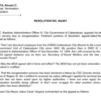 CSC Resolution 992491, Bautista, Renato C., Re: Appeal; Termination; Reorganization