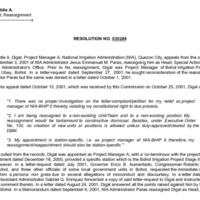 CSC Resolution 030284, Digal, Eddie A., Re: Appeal; Reassignment