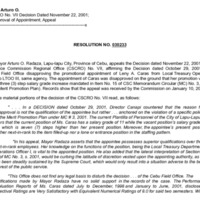 CSC Resolution 030233, Radaza, Arturo O., Re: CSCRO No. VII Decision Dated November 22, 2001; Disapproval of Appointment; Appeal