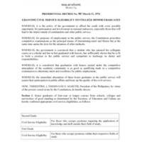Presidential Decree 907: Granting Civil Service Eligibility to College Honor Graduates