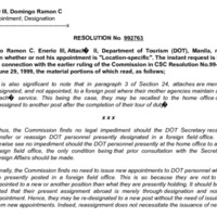 CSC Resolution 992763, Enerio III, Domingo Ramon C., Re: Appointment; Designation