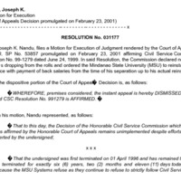 CSC Resolution 031177, Nandu, Joseph K., Re: Motion for Execution (Court of Appeals Decision promulgated on February 23, 2001)