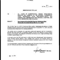 CSC MC 21, s. 2014: Rescheduling of the Anti-Red Tape Act Testimonial Rites (Previously Announced through MC No. 19, s. 2014)
