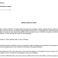 CSC Resolution 030811, Garcia, Delia G., Re: Insubordination; Appeal