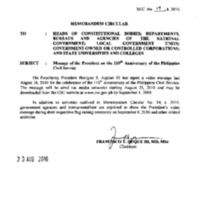 CSC MC 19, s. 2010: Message of the President on the 110th Anniversary of the Philippine Civil Service