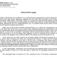 CSC Resolution 030287, Macarandan, Abella C., et al., Re: Payment of Back Salaries and Benefits; Retroactive Appointments
