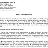 CSC Resolution 030919, Carandang, Melchor Arthur H., et al., Re: Change of Status of Appointment From Temporary to Permanent