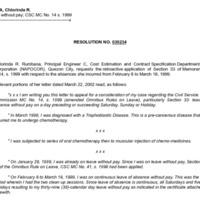 CSC Resolution 030234, Rumbaoa, Chlorinda R., Re: Leave Without Pay; CSC MC No. 14 s. 1999