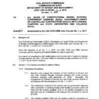 CSC-COA-DBM JC 1, s. 2018: Amendment to the CSC-COA-DBM Joint Circular No. 1, s. 2017