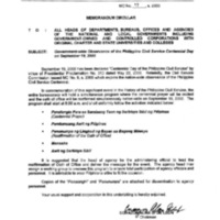 CSC MC 17, s. 2000: Government-wide Observance of the Philippine Civil Service Centennial Day on September 19, 2000