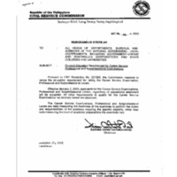 CSC MC 26, s. 2002: Revised Education Requirement for Career Service Professional and Subprofessional Examinations