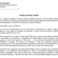 CSC Resolution 992668, Aguirre, Alexander, Re: Conversion of Non-Career to Career Positions
