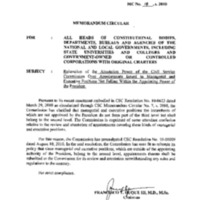 CSC MC 18, s. 2010: Reiteration of the Attestation Power of the Civil Service Commission over Appointments Issued to Managerial and Executive Positions Not Falling within the Appointing Power of the President