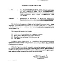 CSC MC 31, s. 1995: Attendance of Presidents of Registered Employees' Organizations/Associations/Unions to the 2nd National Congress